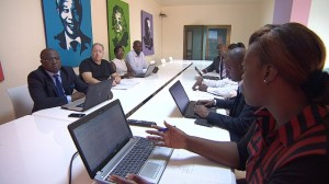 """""""As Congolese, we have to be the first people involved in our development,"""" says Didier M'Pambia (far left), who set up Optimum, one of the larger PR firms in Kinshasa."""