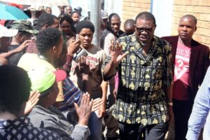 File photo shows then vice president of Namibia's ruling South West Africa People Organization (SWAPO) Hage Geingob (2R) after voting in Windhoek on November 28, 2014 (AFP Photo/Jordaania Andima)