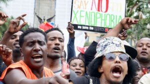 Hundreds of people marched against the anti-immigrant violence that has hit Durban