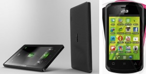 VMK's two flagship products: The Way-C tablet (left) and the Elikia smartphone.