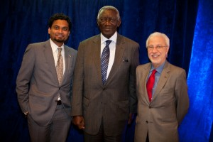 Dr. Neeraj Mistry, John Kufuor and Dr. Ciro de Quadros at the luncheon to welcome Kufuor as NTD Special Envoy