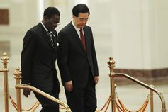 Chinese economic influence in Africa is growing quickly: President Hu Jintao with his Equatorial Guinean counterpart Teodoro Obiang Nguema Mbasogo at a summit. EPA/How Hwee Young