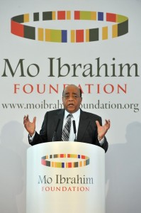 "Sudanese born British businessman Mo Ibrahim speaks during a press conference to announce former Cabo Verde President Pedro Pires as the winner of the ""Mo Ibrahim Prize"" for achievement in African Leadership' in central London on October 10, 2011.    AFP PHOTO / BEN STANSALL (Photo credit should read BEN STANSALL/AFP/Getty Images)"