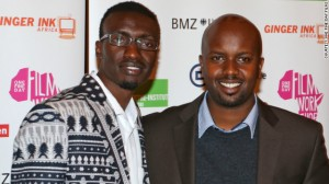 Left to right : Olwenya Maina, who plays Oti in Nairobi Half Life, and director Tosh Gitonga, at the film's German premiere in Berlin on October 10.  Gitonga says he wants to change views about crime in Kenya.