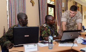 Marine operations officer mentors students from Uganda and Kenya at International Peace Support Training Centre, Nairobi U.S. Air Force (Christine Clark)
