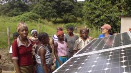 Photovoltaic cells in the solar panels, such as these in a village in Benin, convert sunlight into electricity (SELF) 2