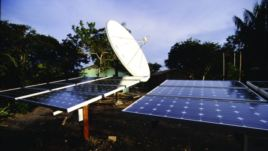 An array of solar panels installed by the SELF NGO, which advocates for increased investments worldwide in clean power. (SELF