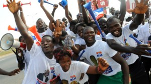 upporters of Ghanaian opposition candidate Nana Akufo-Addo of the New Patriotic Party, in Kasoa, December 1, 2012