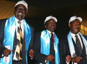 Vice president Kalonzo Musyoka, prime minister Raila Odinga and Moses Wetangula during the wiper democratic party's national delegates conference which endorsed the vice president as the party's sole presidential candidate.PHOTO/HEZRON NJOROGE