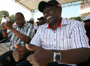 Deputy Prime Minister Uhuru Kenyatta and Eldoret North MP William Ruto at a rally in Mombasa's Tononoka grounds.Photo Elkana Jacob