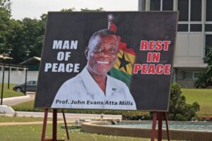 Billboard in Accra, Ghana, marking the death of President John Atta Mills in July 2012: The vacancy was filled without any political problems, as power passed smoothly, according to constitutional norms, to the then vice-president, John Mahama. Photo: AP/Christian Thompson