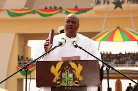 John Mahama taking oath as President of Ghana.The elections were free and fair says  Ayittey