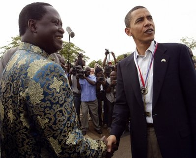 Obama before he was President with Raila Odinga a front runner in the current elections.Allegations that Odinga was robbed of victory in the 2007 elections led to wide spread violence which brought the country to the brink of civil war