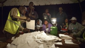 The BBC's Sophie Ikenye reports from Nairobi, where every ballot paper is held aloft to try and ensure the election's transparency