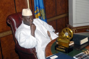 President Jammeh and the Lifetime achievement presented to him by NAFCA