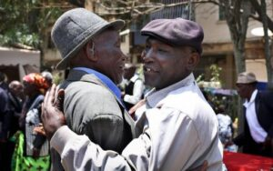 Kenyan Mau-Mau veterans celebrate on October 5, 2012 in Nairobi, after the High Court in London ruled that three Kenyans tortured during the colonial-era rebellion can sue the UK for compensation.