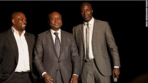 Ozwald Boateng co-founded the Made in Africa Foundation with Kola Aluko (L), to help fund large-scale infrastructure projects on the continent.  They are pictured here with Donald Kaberuka, President of the African Development Bank and the first recipient of the Made in Africa Special Recognition Award.