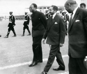 STR/AFP/Getty Images) AFP/Getty Images: Reproduction of a file photo dated 25 May 1963 shows the Ethiopian Emperor Haile Selassie (C) and Ghana's founder and first President Kwame Nkrumah (L) during the formation of the Organization of African Unity in Addis Ababa.