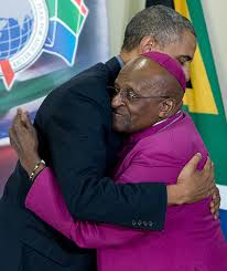 President Obama in a warm embrace with ArchBishop Desmond Tutu