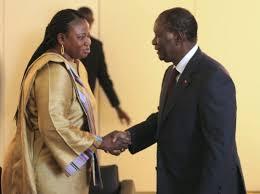 Bensouda with Ivory Coast President Alassane Ouattara in Abidjan June 28, 2011