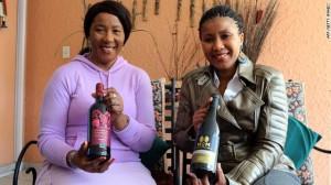 Nelson Mandela's daughter Makaziwe Mandela, and her daughter Tukwini Mandela, show off their House of Mandela wine range.