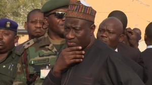 President Goodluck Jonathan visits the  site of a Boko Haram attack in the Northern city of Kano