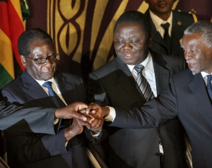 Mbeki with Zimbawean Leaders. President Mugabe now wields power alone
