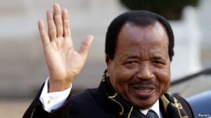 Cameroon's President Paul Biya departing a meeting at the Elysee Palace in Paris.