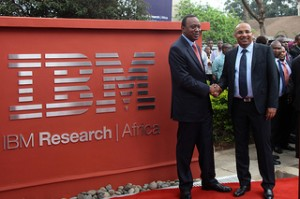 H.E. the President of Kenya, Hon. Uhuru Kenyatta (left) and Dr. Kamal Bhattacharya, Director IBM Research - Africa (right) at the opening of IBM's First Africa Research Laboratory