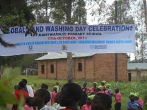 Hand washing celebration notice raised at the education center in Kanywameizi Primary school Kabuyanda in isingiro district