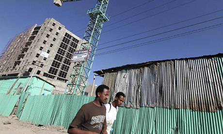 Office blocks under construction in Ethiopia's capital, Addis Ababa. But the reality is also many very poor neighbourhoods. Photograph: Thomas Mukoya/Reuters
