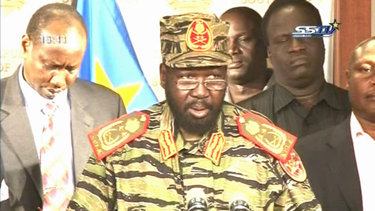 South Sudanese President Salva Kiir announces the alleged 'coup' perpetrated by former Vice President Riek Machar