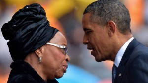 President Obama offers condolences to Mandela's widow Graca Machel (AFP)