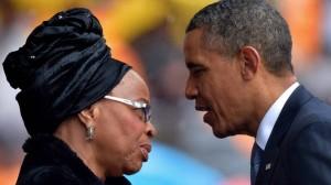 President Obama offers condolences to Mandela's widow Graca Machel (AFP)