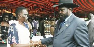 Southern Sudan President Salva Kiir (right) meets Ms Rebecca Garang during the second death anniversary of Dr John Garang, Juba, Southern Sudan in this 2007 picture. Photo/STEPHEN MUDIARI