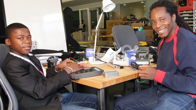 David Sengeh, right, mentoring Kelvin Doe, a 15-year-old Sierra Leonean who built a radio station from scrap materials