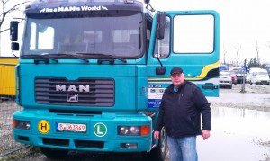Dr Gerhard Staats with a truck destined for Nigeria