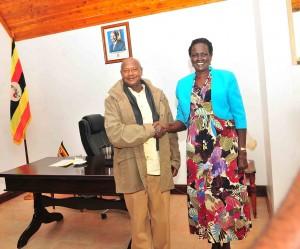 President Yoweri Museveni and Mrs Garang after holding talks in Uganda