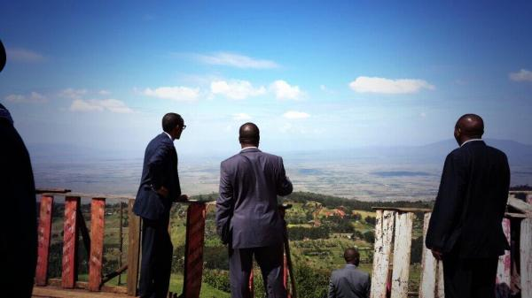 President admiring the view of the Great Rift Valley in Naivasha on Monday -
