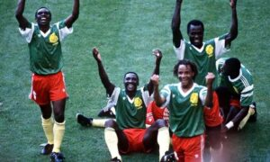 Cameroon players celebrate their goal in the win against Argentina at the 1990 World Cup. Photograph: Bob Thomas/Bob Thomas/Getty Images