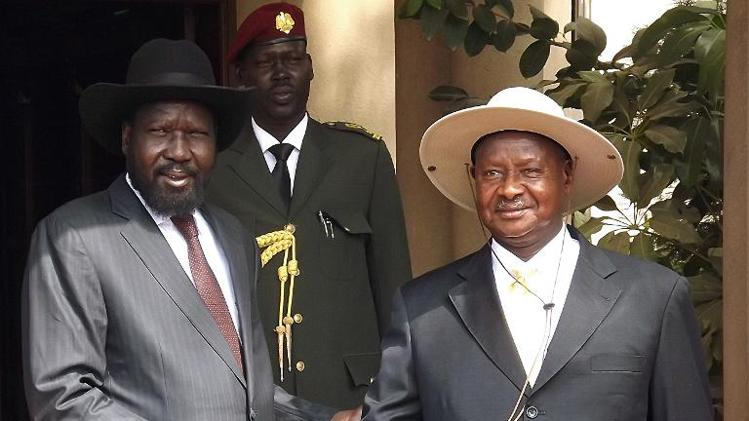 Yoweri Museveni and Salva Kiir during the recent negotiations in Addis Ababa on South Sudan.