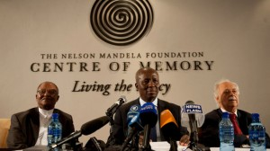 The Nelson Mandela's Centre for Memory acting chairperson Njabulo Ndebele (left), executor and Deputy Chief Justice Dikgang Moseneke, and human rights' lawyer George Bizos. (Delwyn Verasamy, M&G