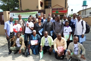 Men and women from communities in Rivers and Bayelsa States attended a workshop to learn how to effectively monitor oil spills themselves. © CEHRD