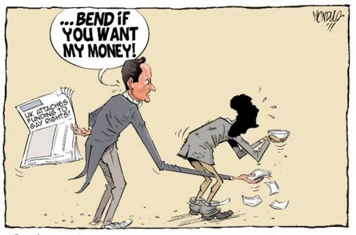 A cartoon from Kenyan newspaper on linking Aid and Gay Rights in Africa