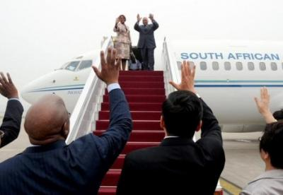 South Africa's president arrives in Beijing for a Ministerial Conference of the Forum on China-Africa Cooperation (FOCAC). Photograph by GovernmentZA.