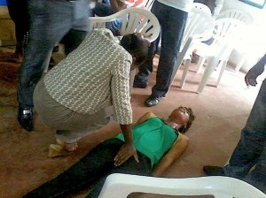 "A woman going through a ""deliverance session"" in church"