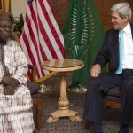 US Secretary of State John Kerry (R) meets with Olusegun Obasanjo, chairman of the African Union's South Sudan Commission of Inquiry, in Addis Ababa on May 2, 2014 (AFP Photo/Saul Loeb)