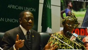 African Union Commissioner of Social Affairs Mustapha Sidiki Kaloko and AU Goodwill Ambassador Nyaradzayi Gumbonzvanda (right) during the Ministers for Social Development Conference in Addis Ababa, Ethiopia May 29, 2014. ANDUALEM SISAY | NATION MEDIA GROUP