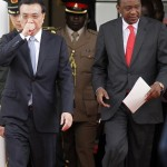 Chinese Premier Li and Kenya's President Kenyatta arrive for a news conference after holding bilateral talks in Nairobi