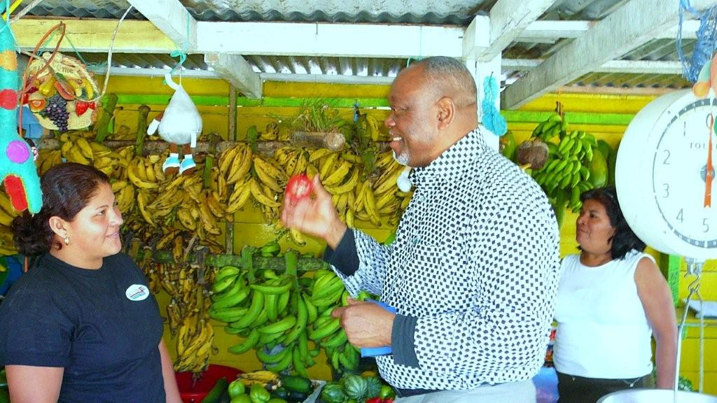 Afantchao on his turf selling the merits of African food